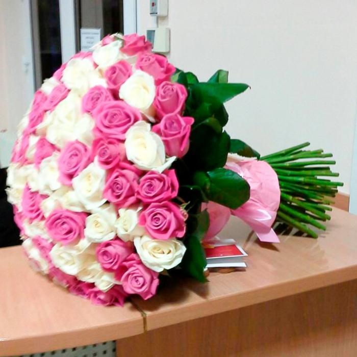 Акция! 101 белая и розовая роза
