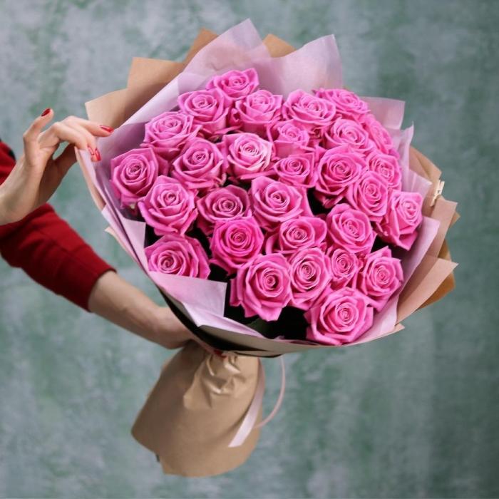 Букет из 25 розовых роз 60 см  Розовая мечта