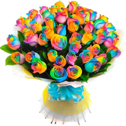 Букет Карусель из радужной розы (Предзаказ)