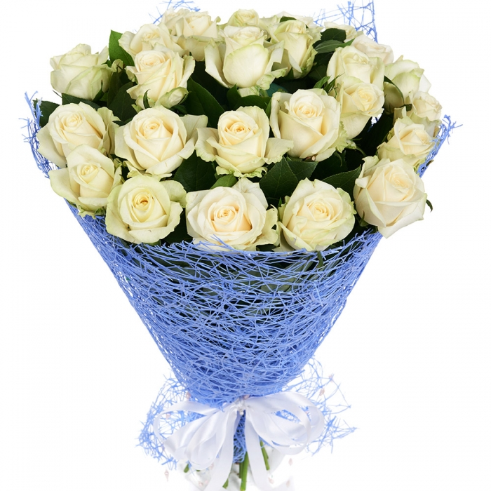 """Букет из 21 белой розы """"Чистая лазурь"""""""