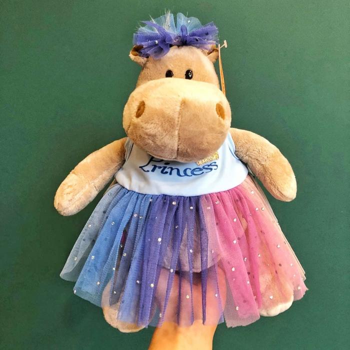 Мягкая игрушка Бегемотик Принцесса в голубом 20 см