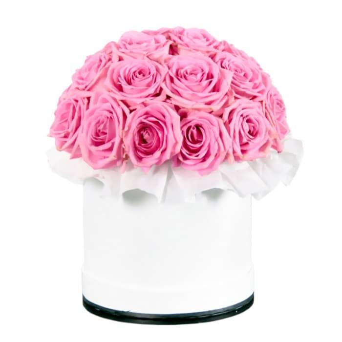 39 розовых роз в шляпной коробке
