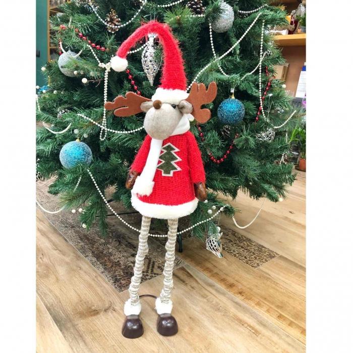 Игрушка декоративная новогодняя Олень на длинных ножках 100 см