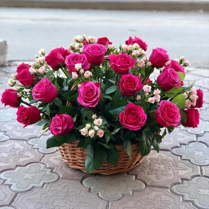 Цветочная корзина Розовое настроение