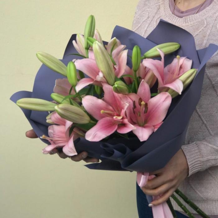 АКЦИЯ!!! Букет из 5 розовых лилий