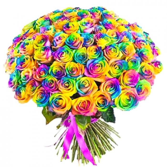 Букет из 101 радужной розы (Предзаказ 1 неделя)