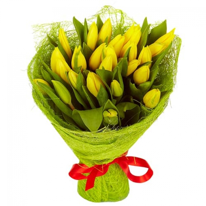 25 желтых тюльпанов + Пряник!