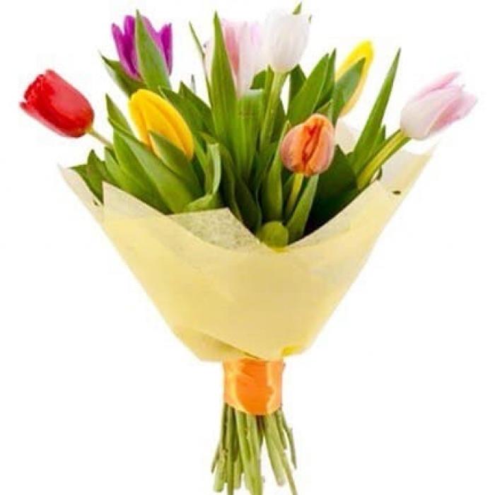 Букет из 9 разноцветных тюльпанов + Пряник