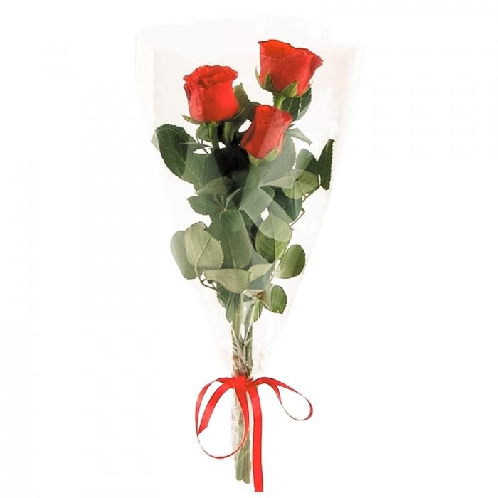 Букет из 3 красных роз 50 см