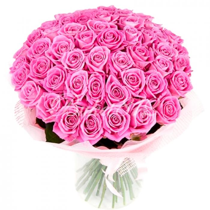 Букет из 59 розовых роз в сетке