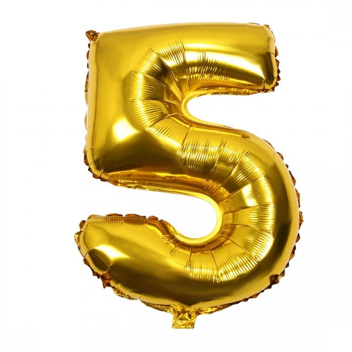 """Воздушный шарик золотистый """"цифра 5"""""""