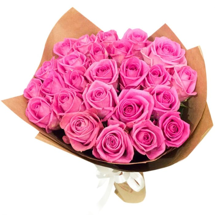 Акция! Розовые розы в крафте