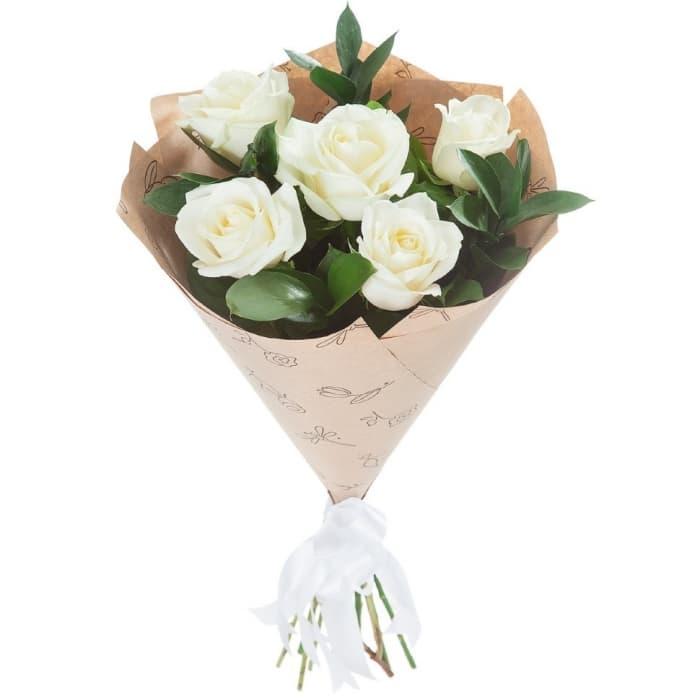 Букет Облачно из 5 белых роз
