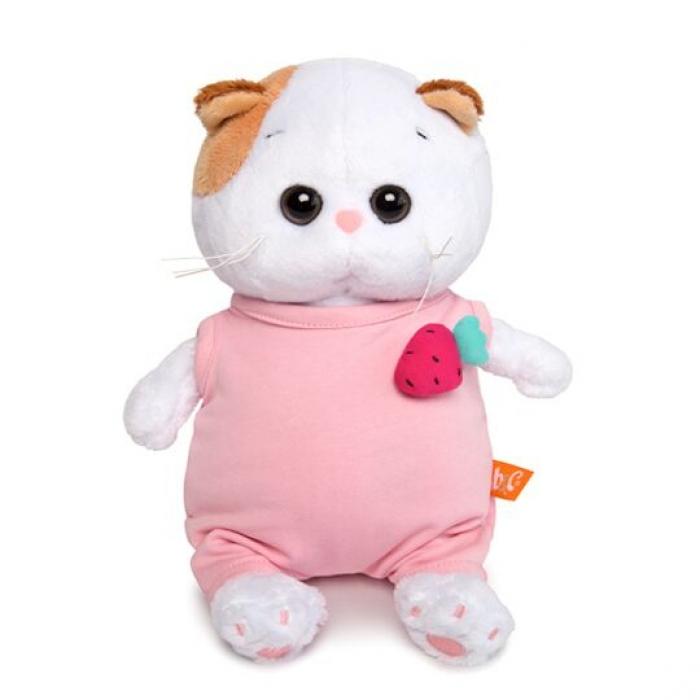 Кошечка Ли-Ли в розовом комбинезоне с клубничкой