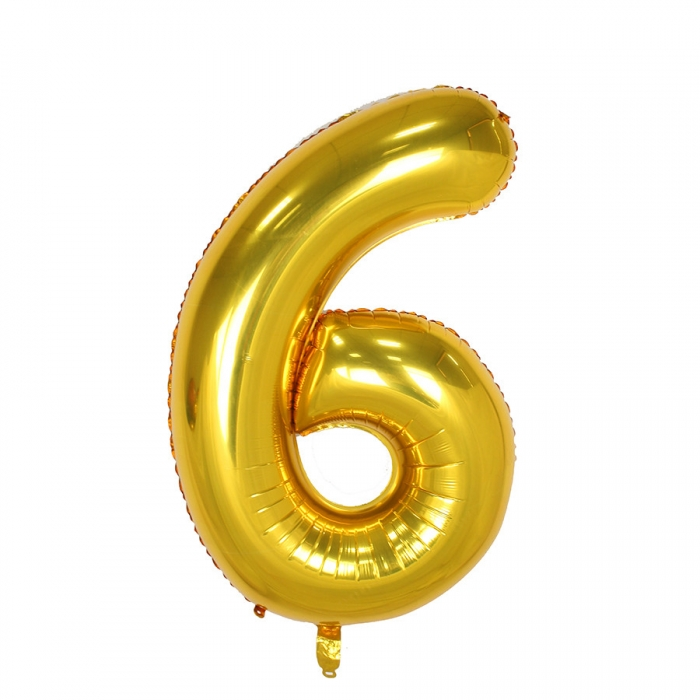 """Воздушный шарик золотистый """"цифра 6"""""""