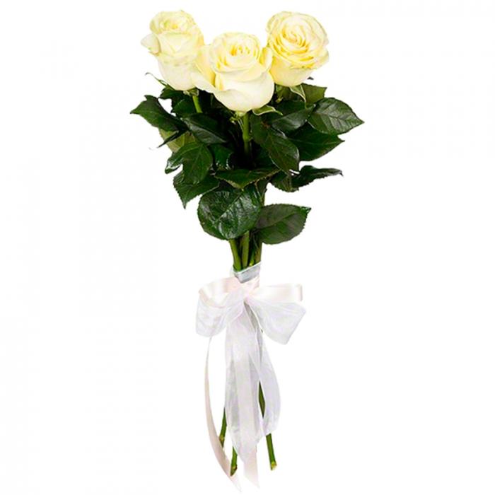 Букет из 3 белых роз 50 см
