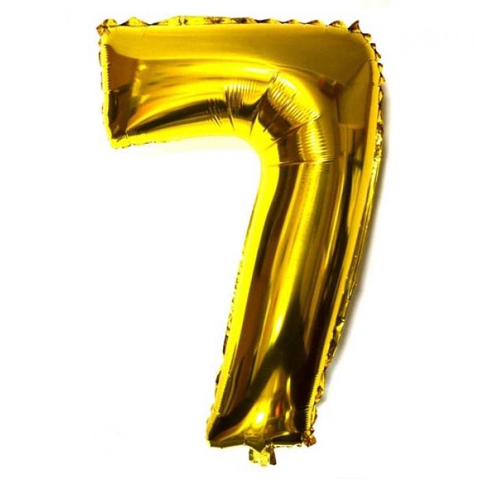 """Воздушный шарик золотистый """"цифра 7"""""""