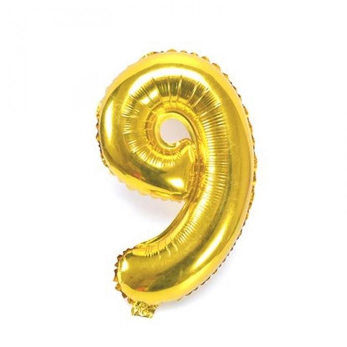 """Воздушный шарик золотистый """"цифра 9"""""""