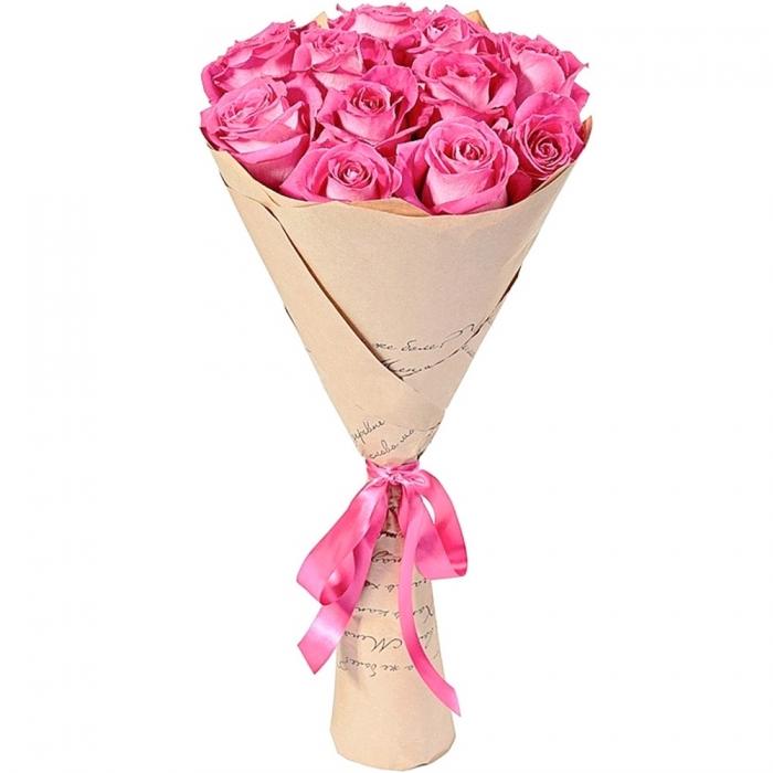 Крафт букет из 11 эквадорских роз