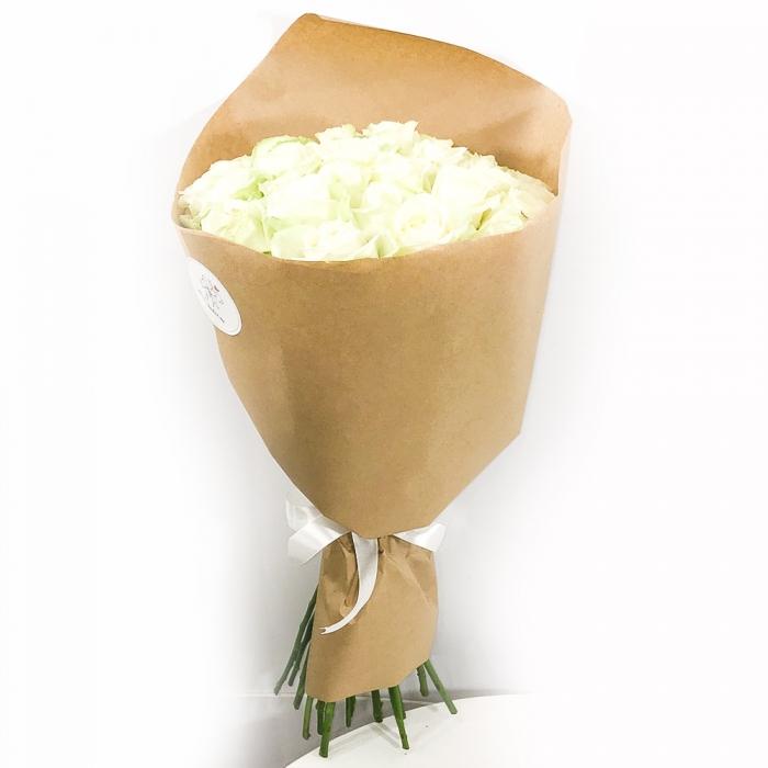 """Букет из 31 длинной розы 70 см """"Чистое сердце"""""""