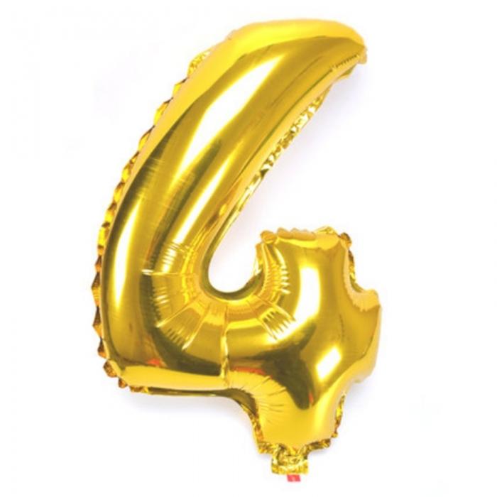 """Воздушный шарик золотистый """"цифра 4"""""""