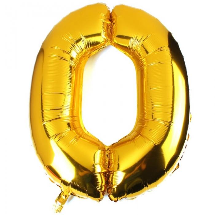 """Воздушный шарик золотистый """"цифра 0"""""""