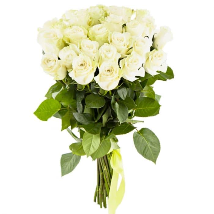 Акция!!! 19 белоснежных роз 70 см + 4 бонуса