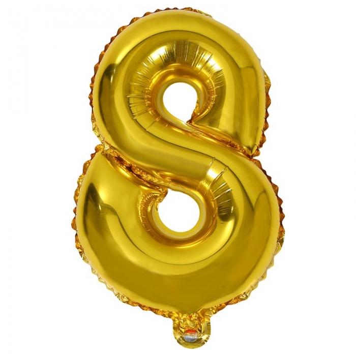 """Воздушный шарик золотистый """"цифра 8"""""""