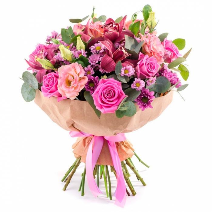 Букет в розовых тонах с орхидеями