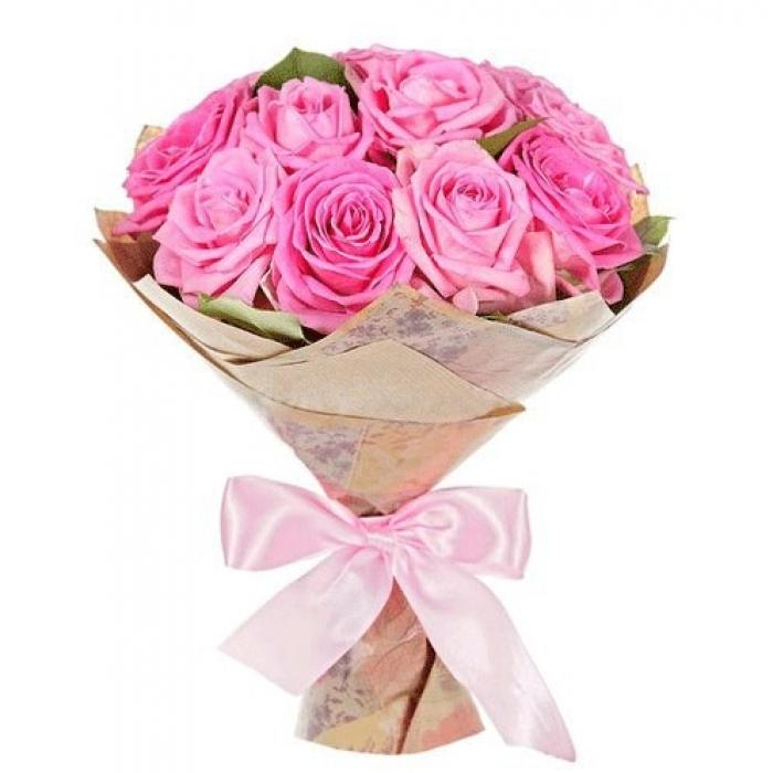 """Букет из 17 розовых роз """"Ваниль"""""""