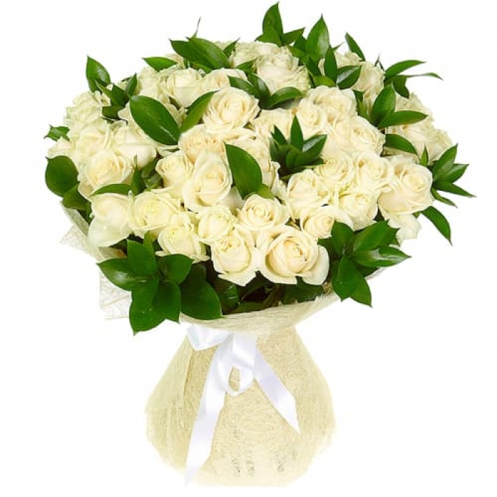 51 премиальная белая роза