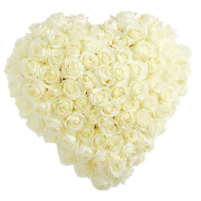 101 белая роза в виде сердца 70см