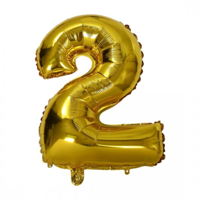 """Воздушный шарик золотистый """"цифра 2"""""""
