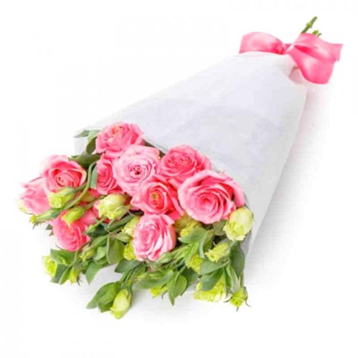 Букет из розовых эустом