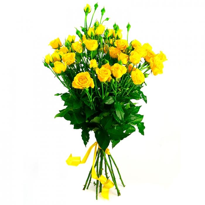Букет из 5 желтых кустовых роз