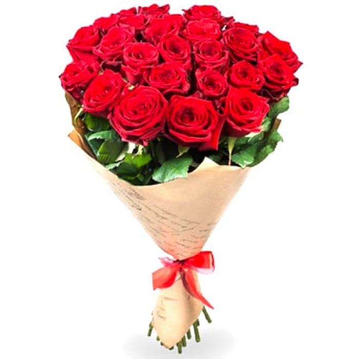 Крафт-букет из 27 красных роз + подарок!