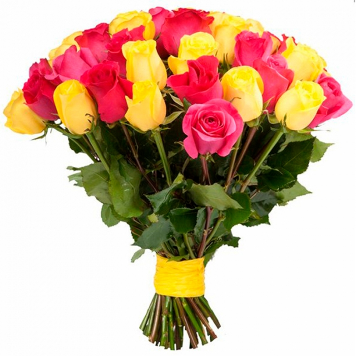 Букет из 59 розовых и желтых роз