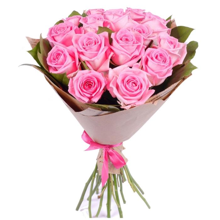 Букет из 15 розовых роз Искренняя нежность