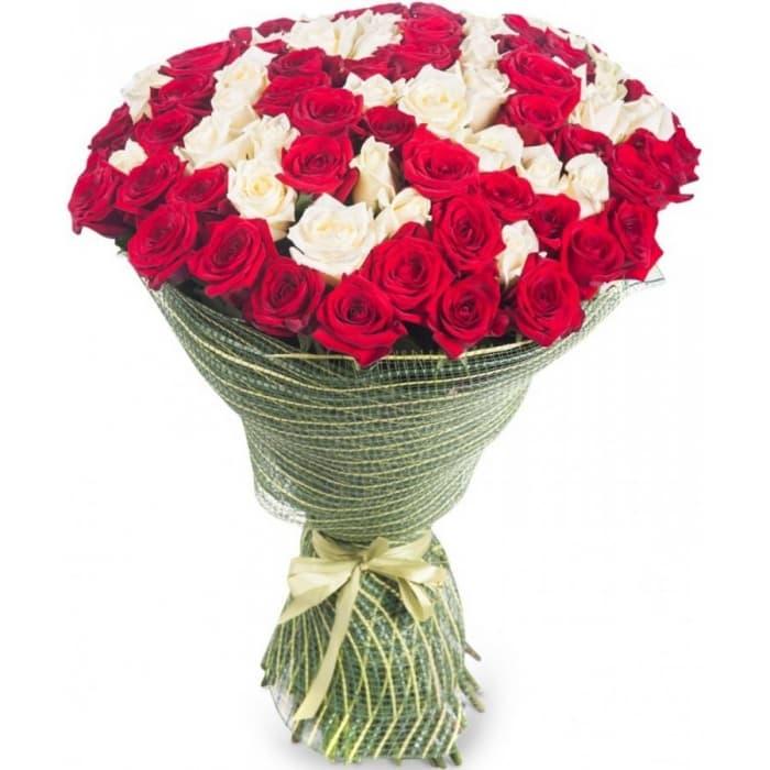 Букет Шик из красных и белых роз