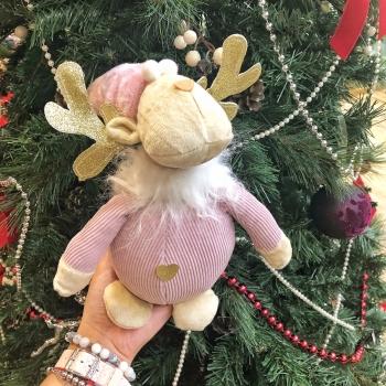 Новогодняя игрушка Олень розовый