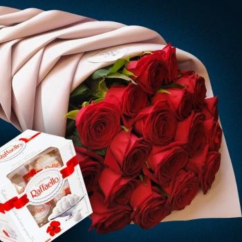 Супер Акция!!! Букет из 19 красных роз 70 см + Конфеты всего за 3790 Р