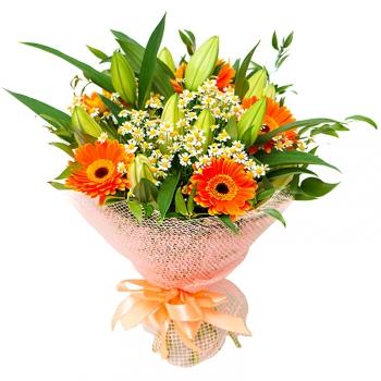 Букет Яркое счастье из лилии и гербер