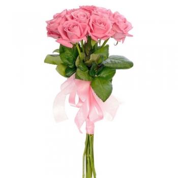 9 розовых роз 50 см
