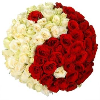 """Букет """"Инь и Янь"""" из 101 розы"""