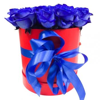 """17 синих роз в шляпной коробке """"Морская удача"""" (Предзаказ 1 неделя)"""
