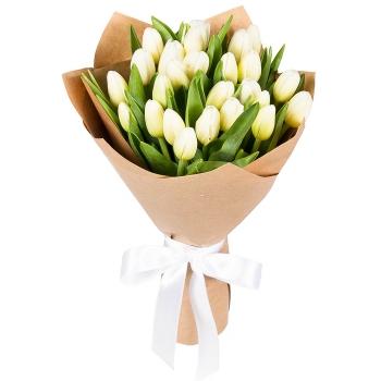 Букет из 25 белых тюльпанов