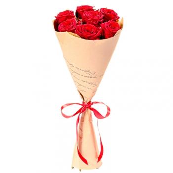 7 красных роз 70 см в крафте