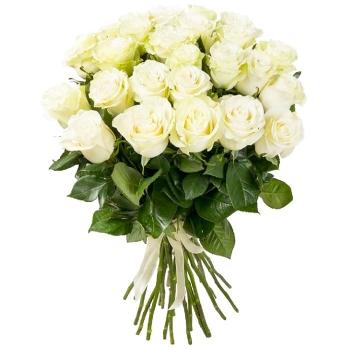 Акция! 25 белых роз + пряник!