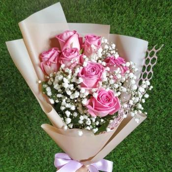 Букет из 7 розовых роз 50 см