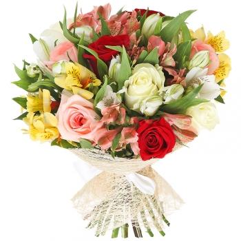 Букет из альстромерии и разноцветных роз